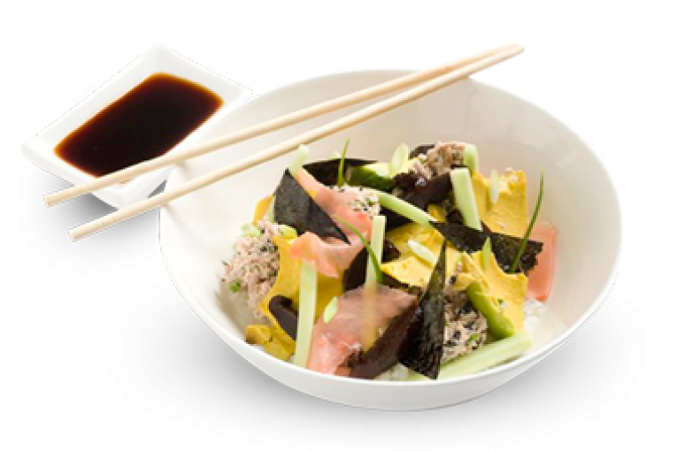 צ'יראשי סושי עם טונה ופטריות